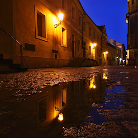 After the rain by Michal Snopek - Buildings & Architecture Other Exteriors ( night photography, street, czech republic, long exposure, prague )