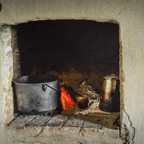 Dinner is On by Robert Coffey - Artistic Objects Other Objects ( kettle, fireplace, log, pot, fire,  )