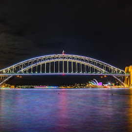 Vivid Sydney Harbour Bridge by Jeremy Herbert - Buildings & Architecture Bridges & Suspended Structures ( moon, light painting, vivid, reflections, bridge, sydney,  )