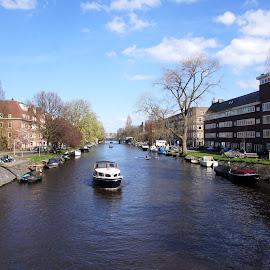 Amstelkanaal, Amsterdam by Anita Berghoef - City,  Street & Park  Neighborhoods ( ship, the netherlands, amsterdam, spring, canal, amstelcanal, city )