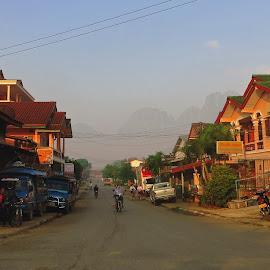 Sunrise in Vang Vien by Maria Levanyuk - City,  Street & Park  Vistas ( laos, sunrise, morning )