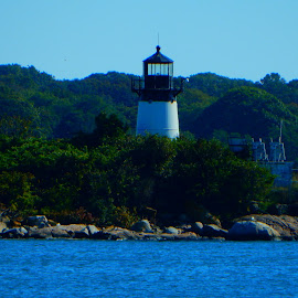 Gloucester Lighthouse by Kristine Nicholas - Novices Only Landscapes ( old, ocean, architecture, fishing village, atlantic, historic, island, shipping, naval, village, gloucester, ships, light, rocks, water, building, green, sea, massachusetts, blue, light house, trees, villiage, town, fishing, antique )