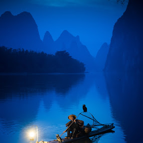 Blue Hour by Jim Harmer - People Portraits of Men ( cormorant, fishing, china )