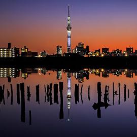 Reflection of tokyo skytree by Kadek Lana - City,  Street & Park  Neighborhoods ( japan, tokyo skytree )