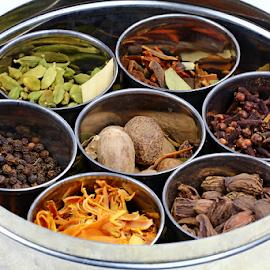 Garam Masala box by Dipali S - Food & Drink Ingredients ( green cardamom, aromatic, spice, spicy, indian, cloves, masala, black cardamom, fragrant, whole, mace, hot, garam masala, nutmeg, cardamom, black pepper )