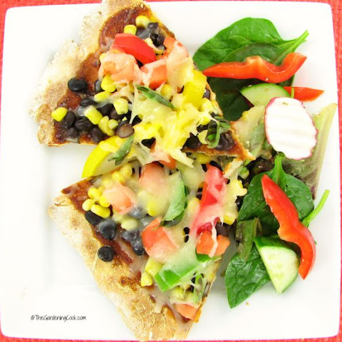 Gluten Free Black Bean Pizza with Corn and Veggies