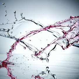Red and blue water colide by Peter Salmon - Abstract Water Drops & Splashes ( water, red, splash, blue, colide )