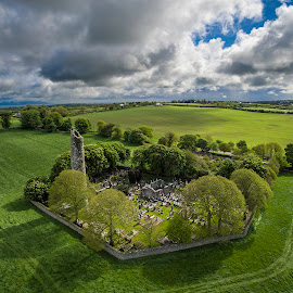 Monasterboice by Jim Hamel - Landscapes Prairies, Meadows & Fields ( ireland, green, cemetery, monasterboice, louth )