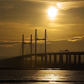 Severn Crossing at Sunset by Ingrid Anderson-Riley - Buildings & Architecture Bridges & Suspended Structures