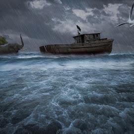 The last hope by Stanciu Mihai - Digital Art Places ( animals, arch, flood, boat, rain )