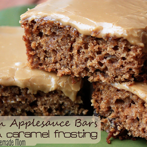 Raisin Applesauce Bars & Caramel Frosting