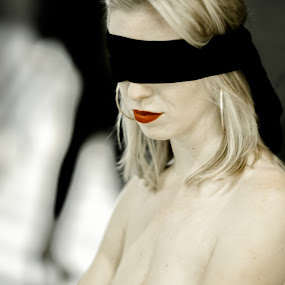 Waiting by Gunleik Groovie - People Portraits of Women ( red, blindfold, woman, lips, public )