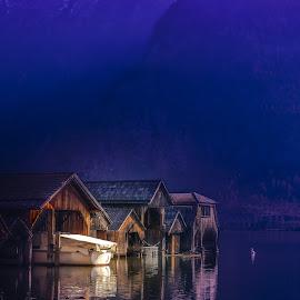 in the twilight by Arif Sarıyıldız - Buildings & Architecture Other Exteriors ( travel photography, hallstatt, village, twilight, lake )