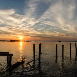 Sunset over the Gulf. V2 by Trey Walker - Novices Only Landscapes ( broken, gulf coast, sunset, pier, nikon, abandoned )