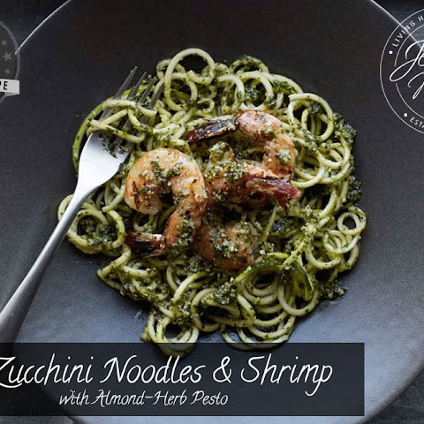Zucchini Noodles and Shrimp with Almond-Herb Pesto