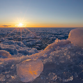 Ice Glow by Larry Kaasa - Landscapes Waterscapes ( winter, frozen lakeshore, waterscape, ice, lake superior, sunrise, landscape )