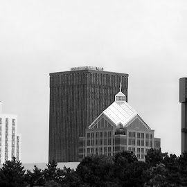 Rochester NY Skyline 1 Black And White by RMC Rochester - Black & White Buildings & Architecture ( abstract, black and white, random, buildings, architecture, city,  )