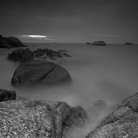 Silent Rock Over Cloudy Sunset at Belitong  by Aloysius Alphonso - Novices Only Landscapes