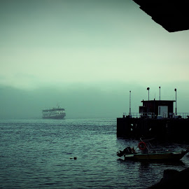 Ghost Ferry by Nick Hopton - Transportation Boats ( hong kong, first ferry, ghost ship, lantau, fog, mui wo, mist )