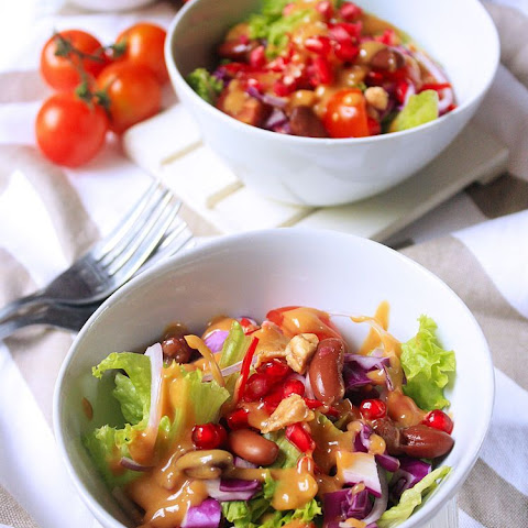 Red Cabbage, Kidney Bean and Pomegranate Salad with Peanut Butter Dressing