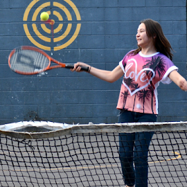 bulls eye by Rachel Urlich - Sports & Fitness Tennis ( ball, racket, novice, fun, swift movement, hand eye coordination,  )
