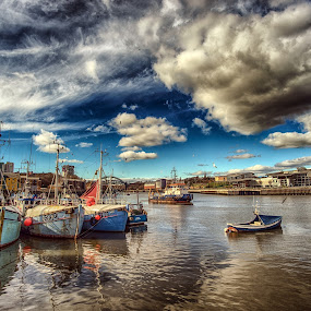 Sunderland Harbour by Adam Lang - Transportation Boats ( clouds, boats, harbour, reflections, sunderland, river )