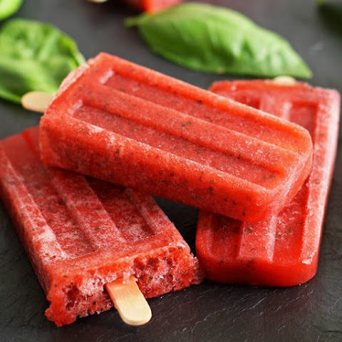 Strawberry Basil Moscato Popsicles