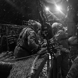 fishermen by Þröstur Njáls - People Portraits of Men ( ship ocean fisherman nikon iceland, ships, jan/feb 16 )