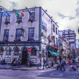 The Ha'Penny Bridge Inn HDR by Deborah Russenberger - City,  Street & Park  Street Scenes