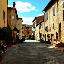 Pienza by Francis Xavier Camilleri - City,  Street & Park  Street Scenes