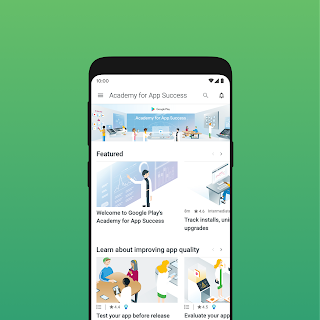 Mobile device showing animated tutorial screens from the Google Play Academy for Success