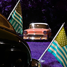 alternate universe by Clarence Hagler - Digital Art Things ( car, flag, color, grass, trees )