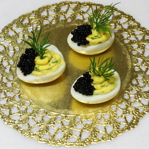Chicken Deviled Eggs with Caviar