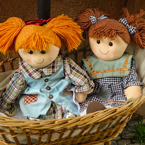 We Are So Happy! by Dee Haun - Artistic Objects Toys ( dolls, basket, toys, rag dolls, 150526$654457ce1, orange hair, artistic objects,  )