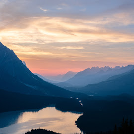 Peyto Lake and the Valley Behind by Nick Johnson - Landscapes Mountains & Hills ( alberta, canada, sunset, peyto lake, banff )
