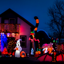 Halloween Night Panorama by Julie Wooden - Public Holidays Halloween ( jack-o-lanterns, north dakota, spooky, hebron, ghouls, black cats, night time, monsters, ghost, landscape, halloween, nature, autumn, event, outdoors, fall, witches, dark, scenery,  )