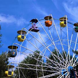 The Ferris wheel in a city park by Svetlana Saenkova - City,  Street & Park  City Parks ( blue sky, ferris wheel, summer )