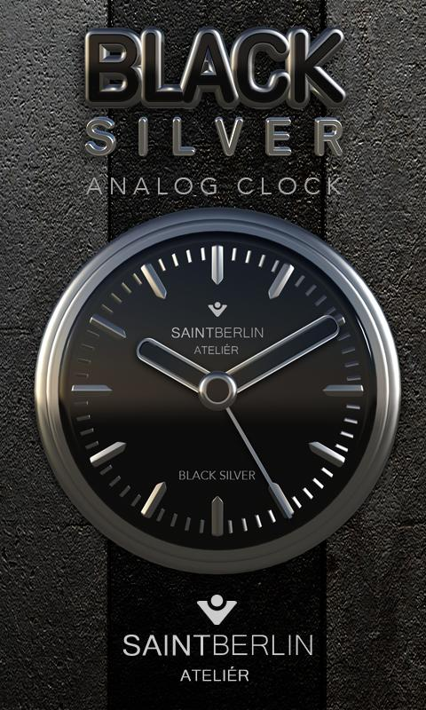 Black Silver Clock Widget Screenshot 0