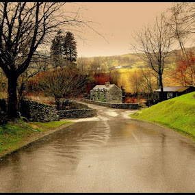 The Lakes on a very wet day by Paul White - Landscapes Weather ( the lakes, troutbeck )
