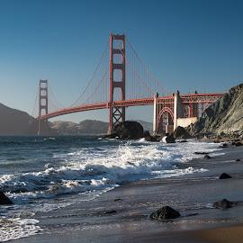 Golden Gate Waves by Mark Franks - Buildings & Architecture Bridges & Suspended Structures ( golden gate bridge, ocean, san francisco )