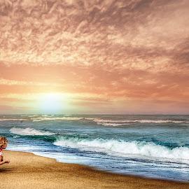 Sunset  by Brian Hollars - Babies & Children Children Candids ( girl water ocean sunset beach sand )