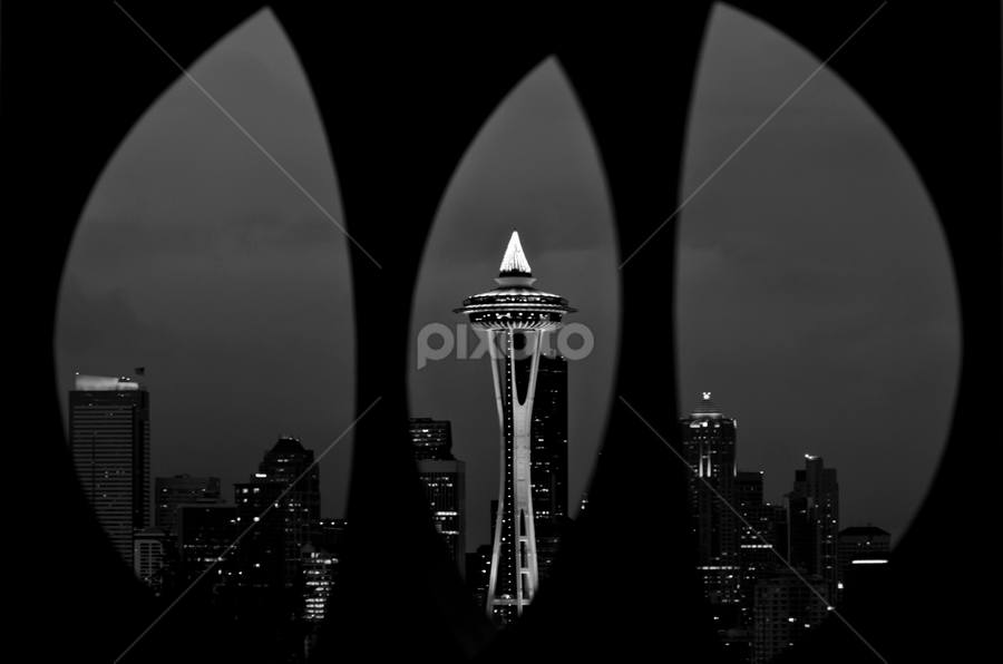 Hello Seattle! by Ro Ducay - Buildings & Architecture Other Exteriors ( washington, skyline, seattle, black and white, cityscape, city )