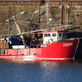 Whitehaven boats by Peter Heys - Transportation Boats ( whitehaven, red, harbour, boat )