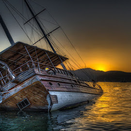 Capsized at Fethiye by Steve Dormer - Transportation Boats