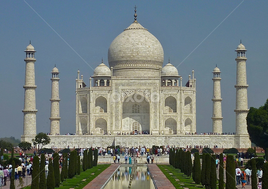 Taj Mahal by Leigh Thomson - Buildings & Architecture Public & Historical ( building, marble, mausoleum, exterior, tourism, travel, postcard, architecture, domed, landmark, taj mahal, asia, agra, india, monument, historical, public )