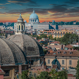 Rome by Stavros Argyropoulos - Landscapes Travel ( roma, church, italia, rome, sunset, churches, cityscape, travel, landscape, italy, city )