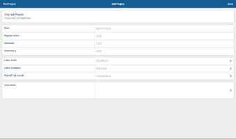 Screenshot of Deltek Touch T & E for Vision