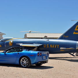 Corvette and Blue Angel by Dawn Hoehn Hagler - Transportation Other ( pima air & space museum, corvette, torque fest, airplane, arizona, tucson, blue angel, transportation )