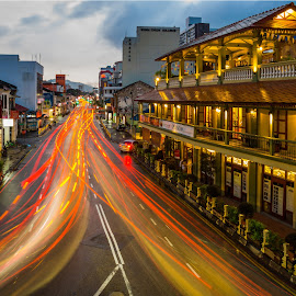Burma Road, Penang by Loke Inkid - City,  Street & Park  Street Scenes ( georgetown, pulau, pinang, penang, malaysia, travel, road, burma, dusk,  )