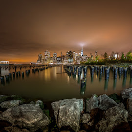 SILENT WITNESSES by Jose Ravelo - Buildings & Architecture Decaying & Abandoned ( east river, night, nyc, olevar, brooklyn, pillars, decay )